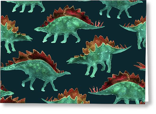 Stegosaurus Greeting Card by Varpu Kronholm