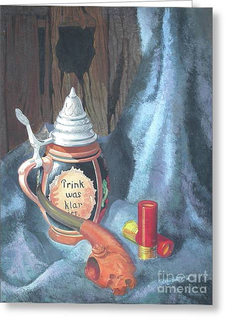 Stein Paintings Greeting Cards - Stein Pipe and Shells Greeting Card by Adam Leskowicz