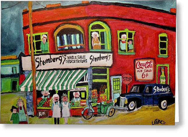 Steinberg's First Store In Verdun Greeting Card by Michael Litvack
