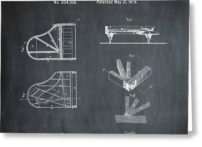 Steinway Grand Piano Patent 1878 In Chalk Greeting Card