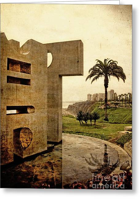 Greeting Card featuring the photograph Stelae In The Park - Miraflores Peru by Mary Machare