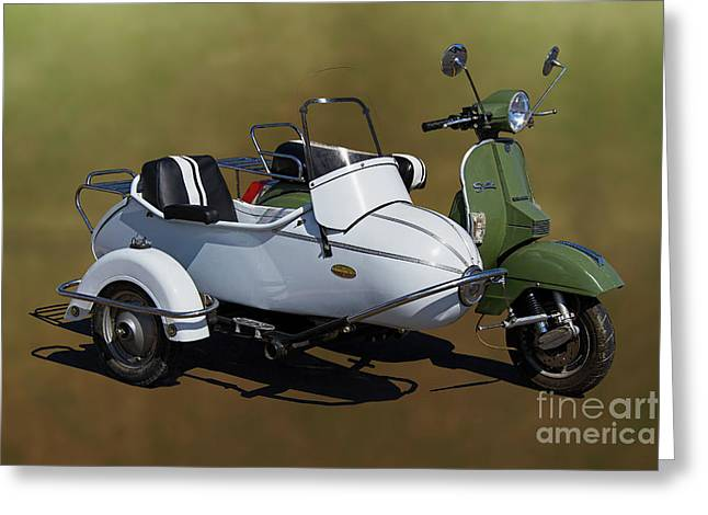 Stella Scooter With Sidecar. Greeting Card