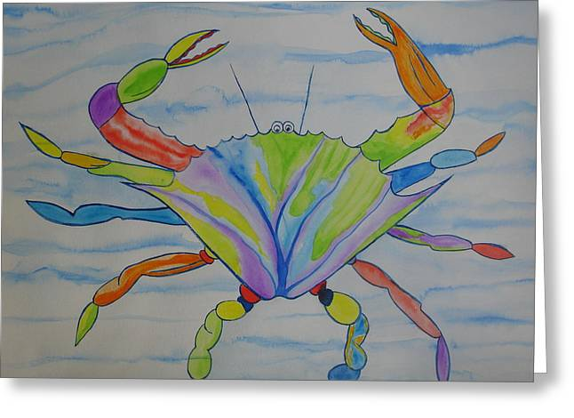 Greeting Card featuring the painting Stella The Crab by Erika Swartzkopf