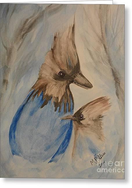 Stellar Jay - Winter #4 Greeting Card by Maria Urso
