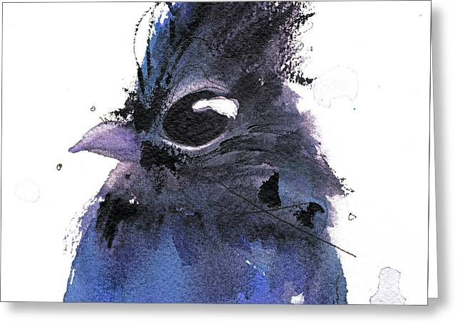 Greeting Card featuring the painting Steller Jay by Dawn Derman