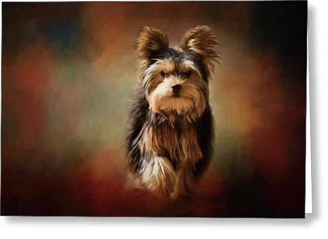 Stepping Into Autumn Yorkshire Terrier Art Greeting Card