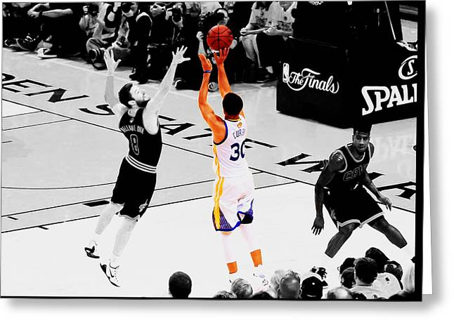 Stephen Curry Another 3 Greeting Card by Brian Reaves