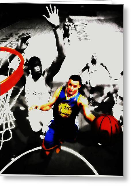 Stephen Curry Going Left Hand Greeting Card by Brian Reaves