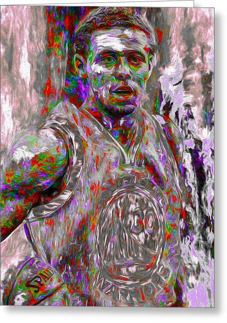 Stephen Curry Golden State Warriors Digital Painting 2 Greeting Card