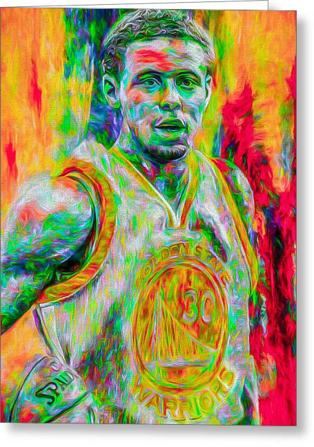 Stephen Curry Golden State Warriors Digital Painting Greeting Card