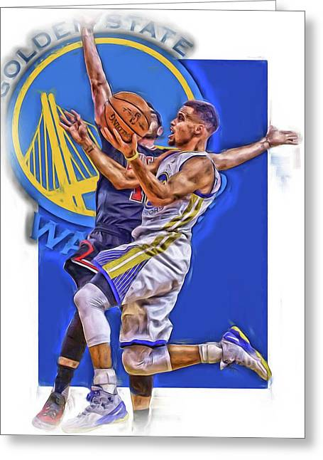 Stephen Curry Golden State Warriors Oil Art Greeting Card by Joe Hamilton