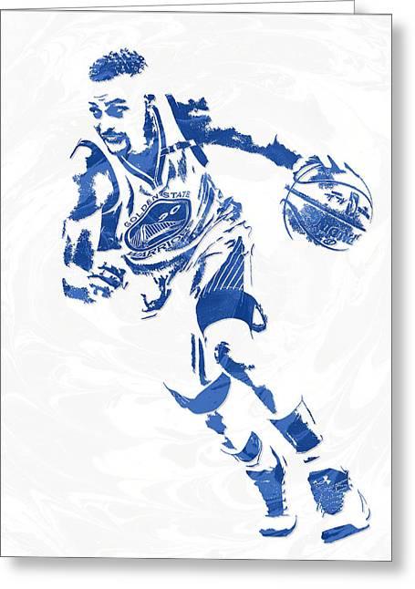Stephen Curry Golden State Warriors Pixel Art 12 Greeting Card