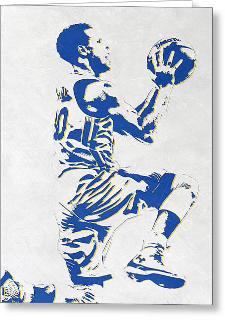 Stephen Curry Golden State Warriors Pixel Art Greeting Card