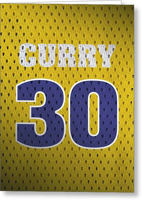 Stephen Curry Golden State Warriors Retro Vintage Jersey Closeup Graphic Design Greeting Card by Design Turnpike