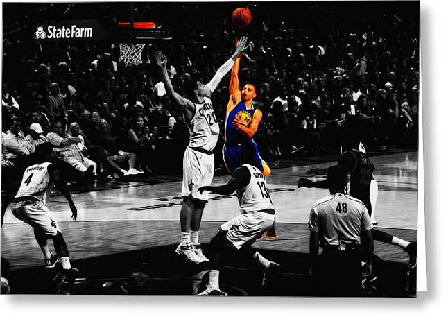 Stephen Curry Soft Touch Greeting Card by Brian Reaves