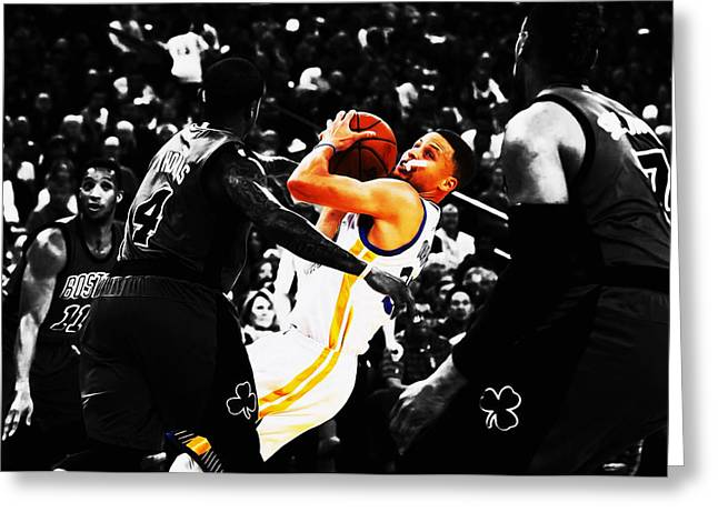 Stephen Curry Stay Focused Greeting Card by Brian Reaves