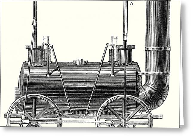 Stephenson's Locomotive With Coupled Wheels  Greeting Card