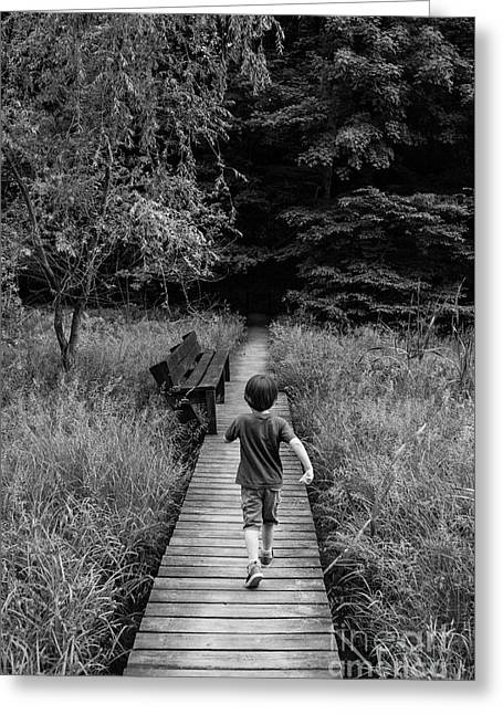 Greeting Card featuring the photograph Stepping Into Adventure - D009927-bw by Daniel Dempster