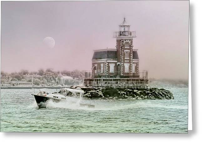 Stepping Stones Lighthouse Greeting Card by Diana Angstadt