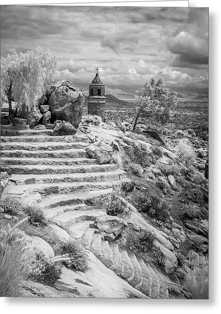 Steps And Peace Tower Greeting Card by G Wigler