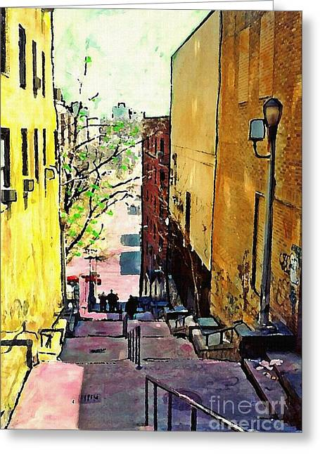 Steps At 187 Street Greeting Card by Sarah Loft