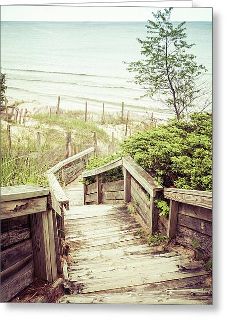 Greeting Card featuring the photograph Steps To Lake Michigan by Joel Witmeyer