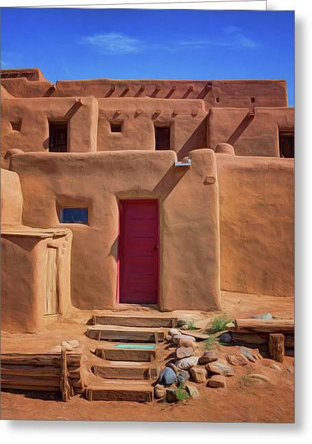 Steps To Red Door - Taos Pueblo Greeting Card
