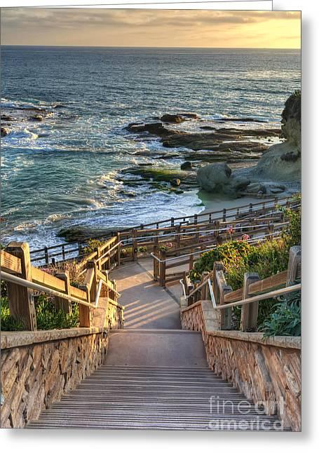 Steps To Treasure Island Beach Greeting Card by Eddie Yerkish