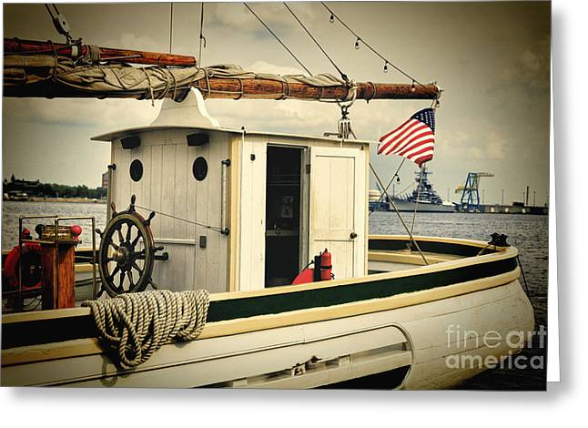 Stern Of A Sailboat Docked In Philadelphia Greeting Card by George Oze