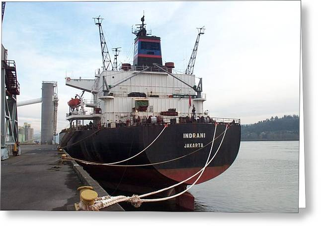 Stern Of The Vessel Indrani At Dock Greeting Card by Alan Espasandin