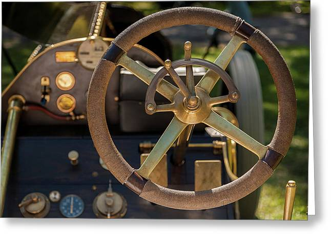 Steering Wheel 1909 Alco Black Beast Greeting Card