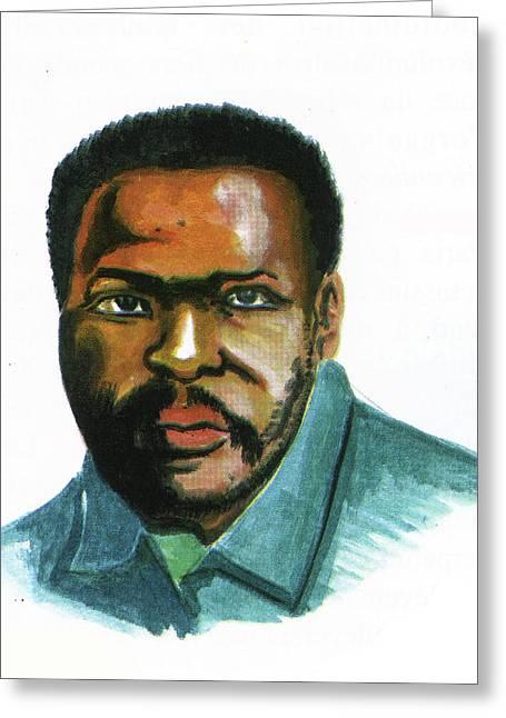 Steve Biko Greeting Card by Emmanuel Baliyanga