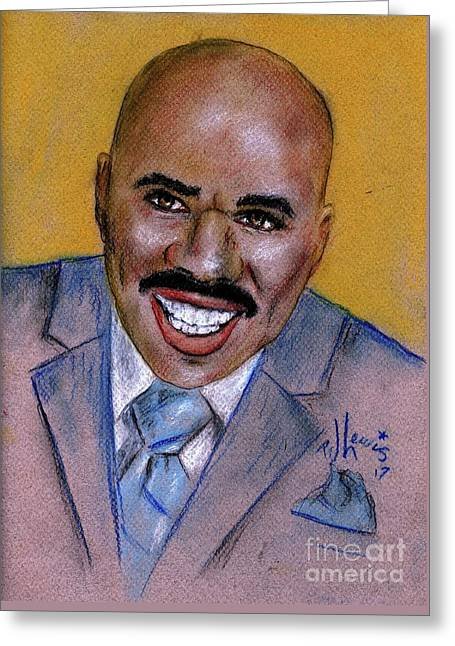 Greeting Card featuring the drawing Steve Harvey by P J Lewis