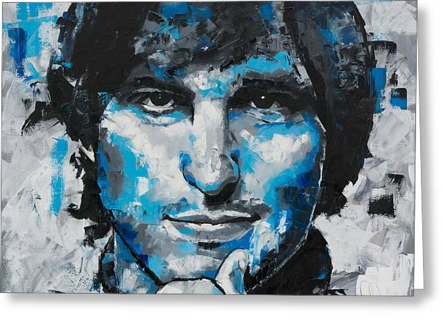 Greeting Card featuring the painting Steve Jobs II by Richard Day