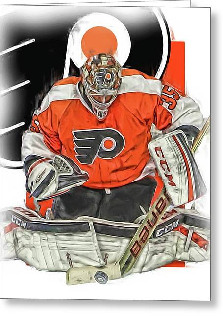 Steve Mason Philadelphia Flyers Oil Art Greeting Card by Joe Hamilton