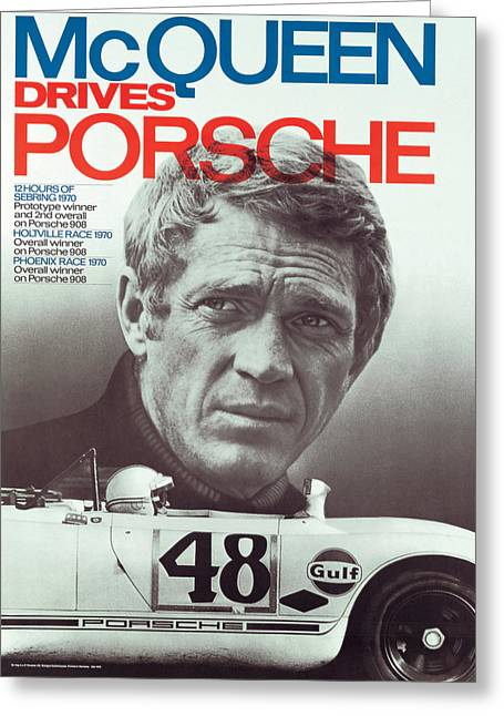 Steve Mcqueen Drives Porsche Greeting Card