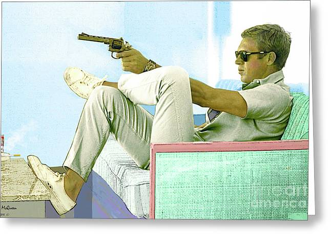 Steve Mcqueen Painting Colt Revolver Greeting Card by Thomas Pollart