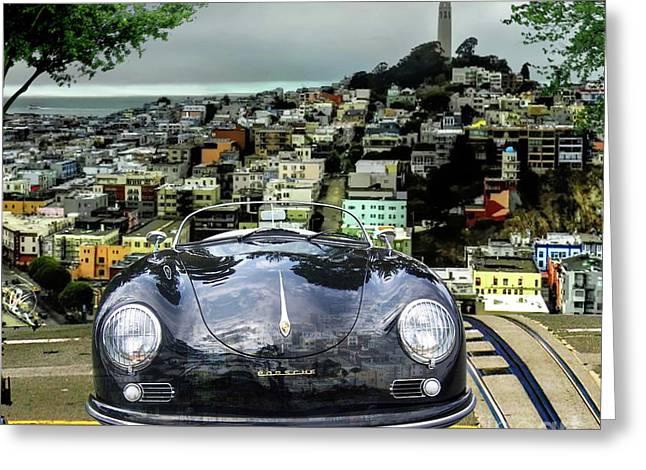 Steve Mcqueen's 58' Porsche 356 1600 Speedster, Telegraph Hill, San Francisco, Ca Greeting Card