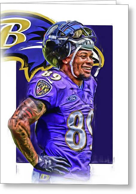 Steve Smith Sr Baltimore Ravens Oil Art Greeting Card by Joe Hamilton