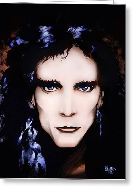 Greeting Card featuring the painting Steve Vai by Curtiss Shaffer