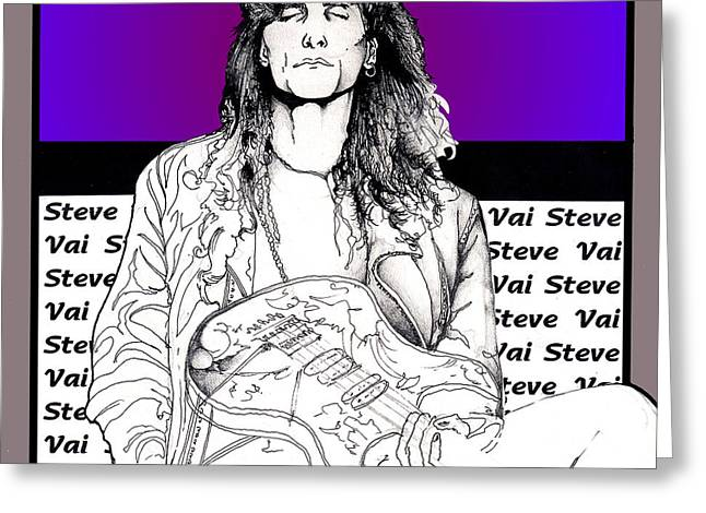 Greeting Card featuring the mixed media Steve Vai Sitting by Curtiss Shaffer