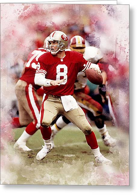 Steve Young Greeting Card by Karl Knox