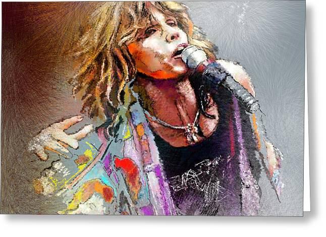 Rocks Drawings Greeting Cards - Steven Tyler 02  Aerosmith Greeting Card by Miki De Goodaboom