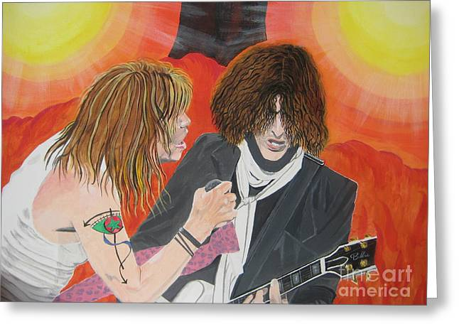 Steven Tyler And Joe Perry Painting Greeting Card by Jeepee Aero