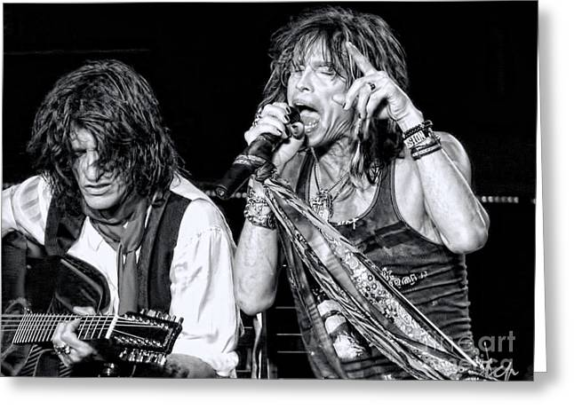 Steven Tyler Greeting Cards - Steven Tyler Croons Greeting Card by Traci Cottingham