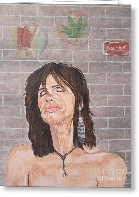 Steven Tyler Dreaming Rock And Roll Greeting Card by Jeepee Aero
