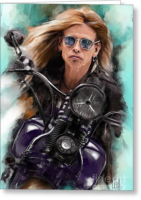 Steven Tyler On A Bike Greeting Card