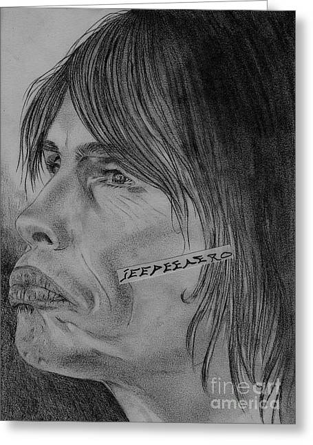 Steven Tyler Portrait Drawing Image Picture Greeting Card by Jeepee Aero