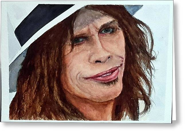 Steven Tyler Quick Watercolor Sketch Greeting Card