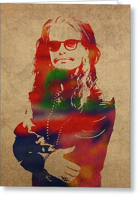 Steven Tyler Watercolor Portrait Aerosmith Greeting Card